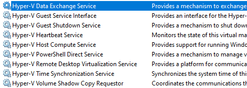 Integration services installed in Windows 10