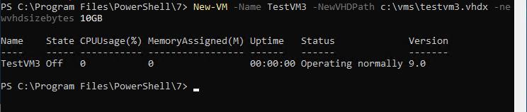 New-VM cmdlet creating a new Hyper-V virtual machine