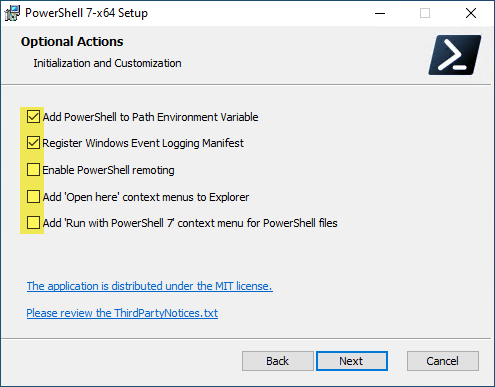 Optional Actions when installing PowerShell Core
