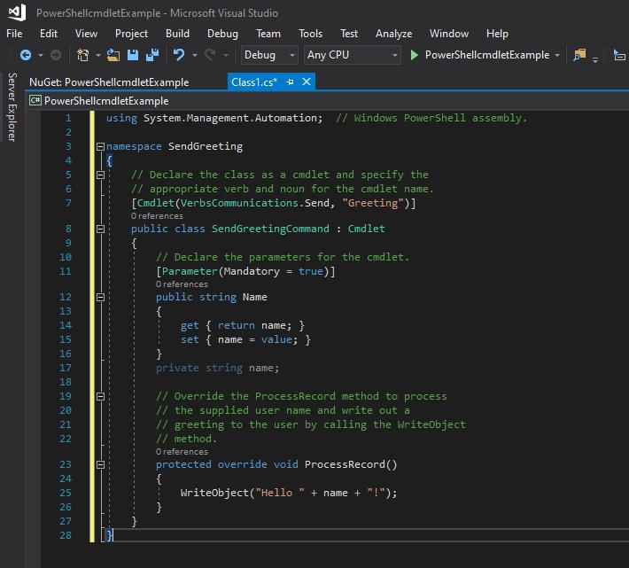 Paste the Microsoft example PowerShell cmdlet code into Visual Studio