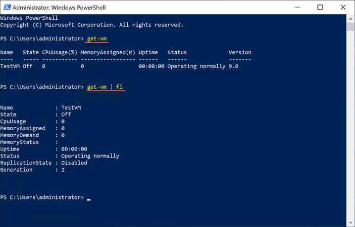 PowerShell Get-VM cmdlet