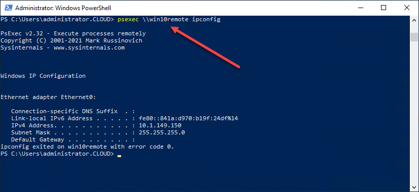 Running the ipconfig command on a remote computer using PsExec