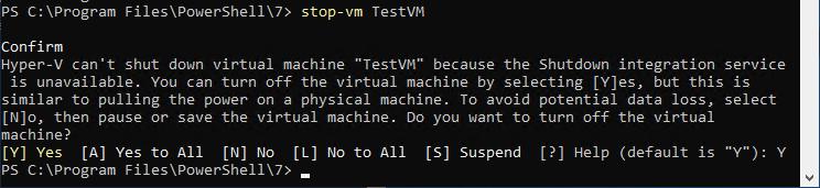 Stop-VM and message regarding Integration Services