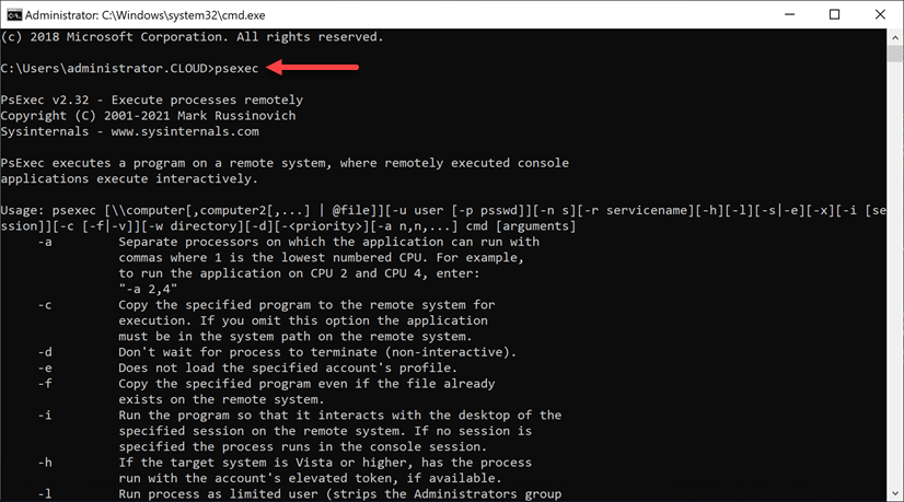 Testing the PATH variable by executing the PsExec command outside the parent directory