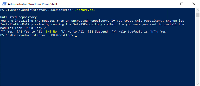Trusting the PowerShell gallery during the installation of the Azure PowerShell Module