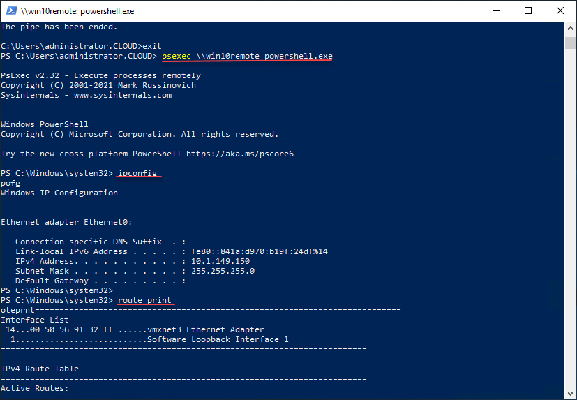Using a generic PowerShell prompt launched with PsExec for troubleshooting