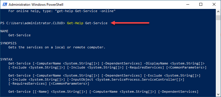 Using the Get-Help cmdlet to understand the Get-Service cmdlet