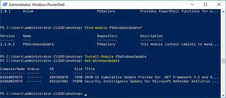 Using the PSWindowsUpdate module to query and install Windows Updates in Windows 10