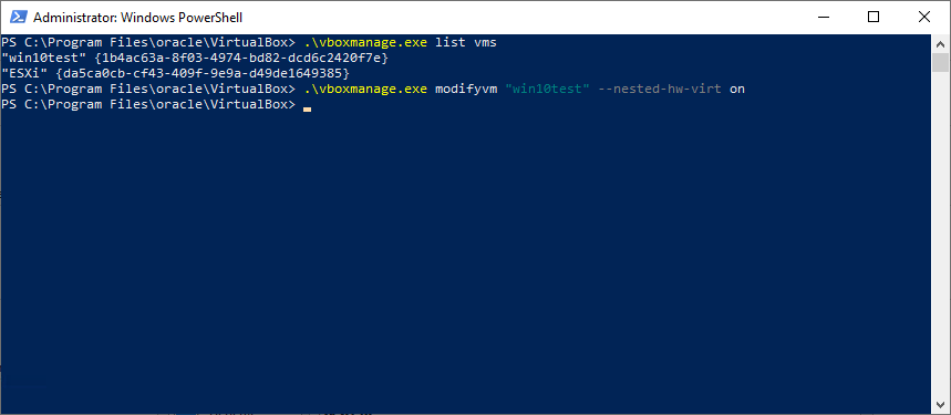 Using the VirtualBox command-line to enable nested virtualization