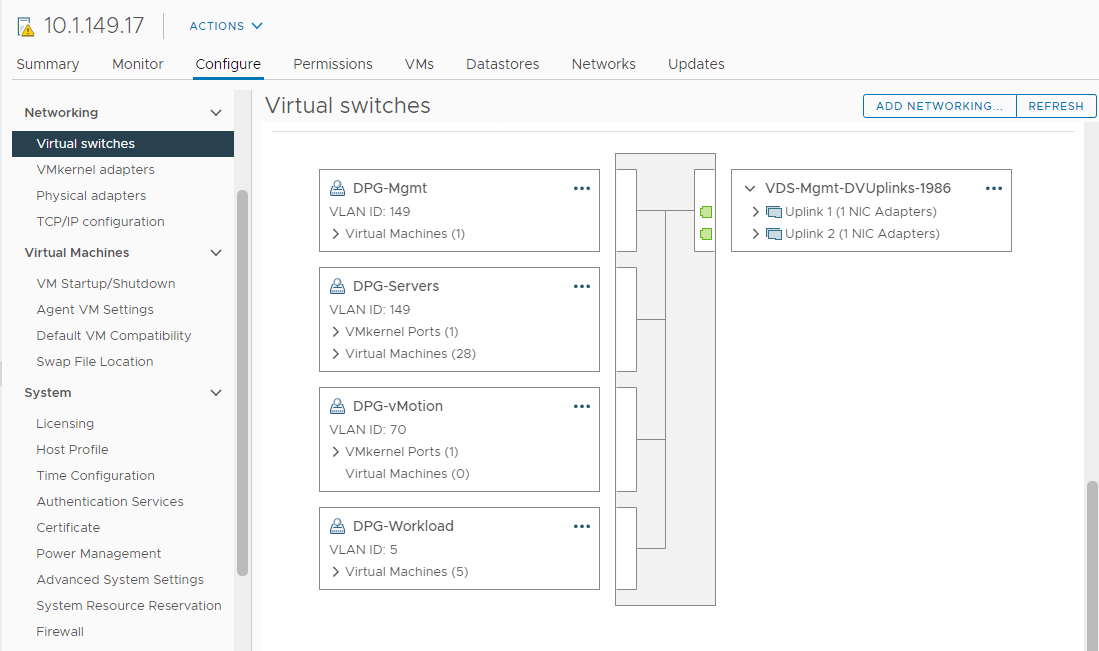 Viewing virtual networks configured for an ESXi host