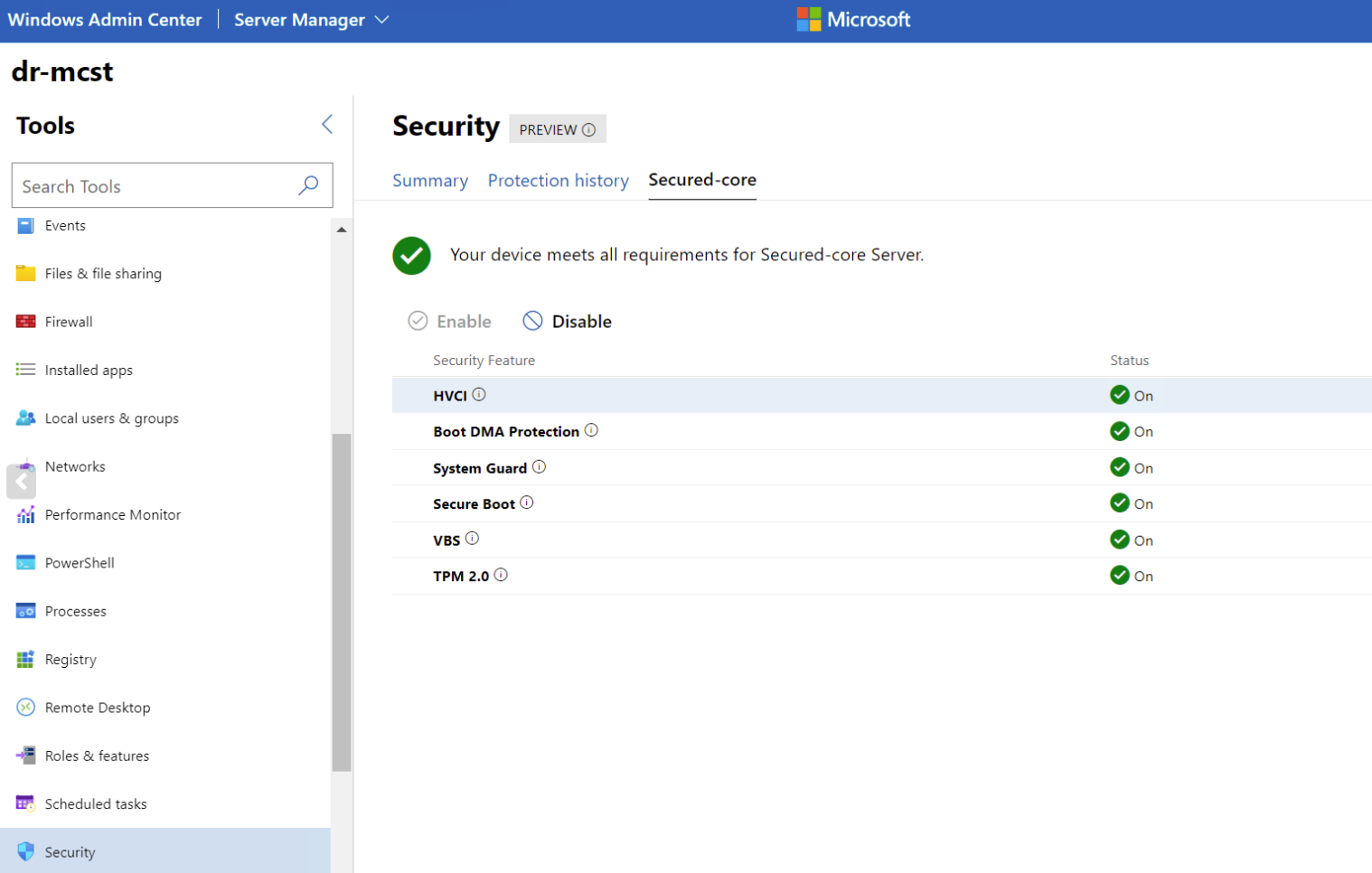 Secured-core features in Windows Admin Center