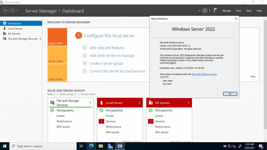 Windows Server 2022 build 20303.120329