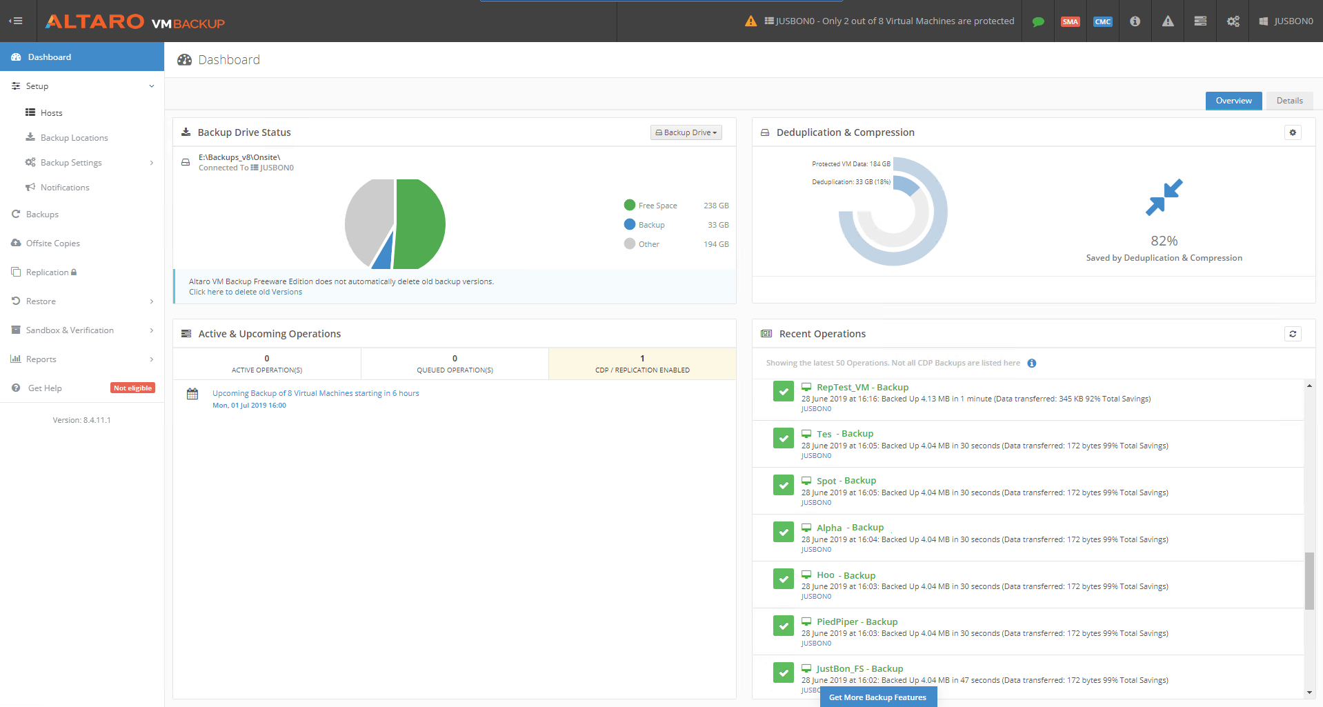 Dashboard Image Vm Backup