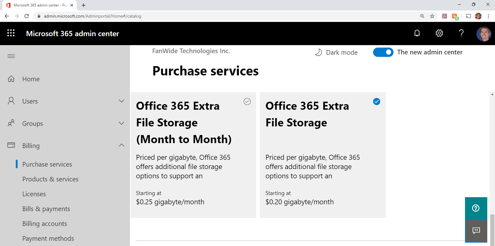 Microsoft 365 Admin Center - Buying Additional Subscription Storage