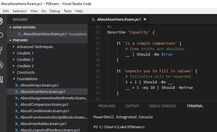 PSKoans Visual Studio Code