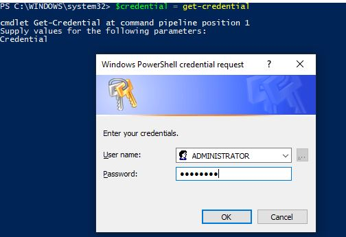 PowerShell credential request