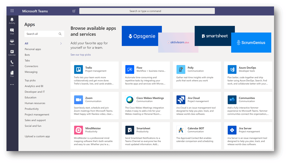 Third-Party Application Addons for Microsoft Teams