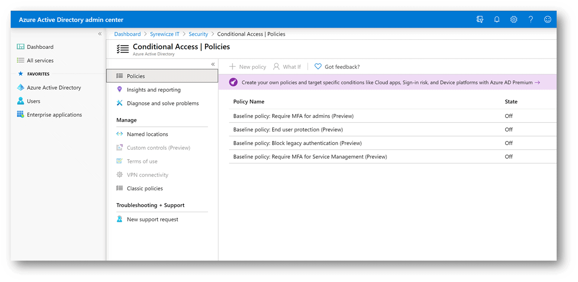 Conditional Access Policies in Azure AD, MFA