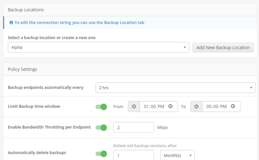 EndPoint - backup locations