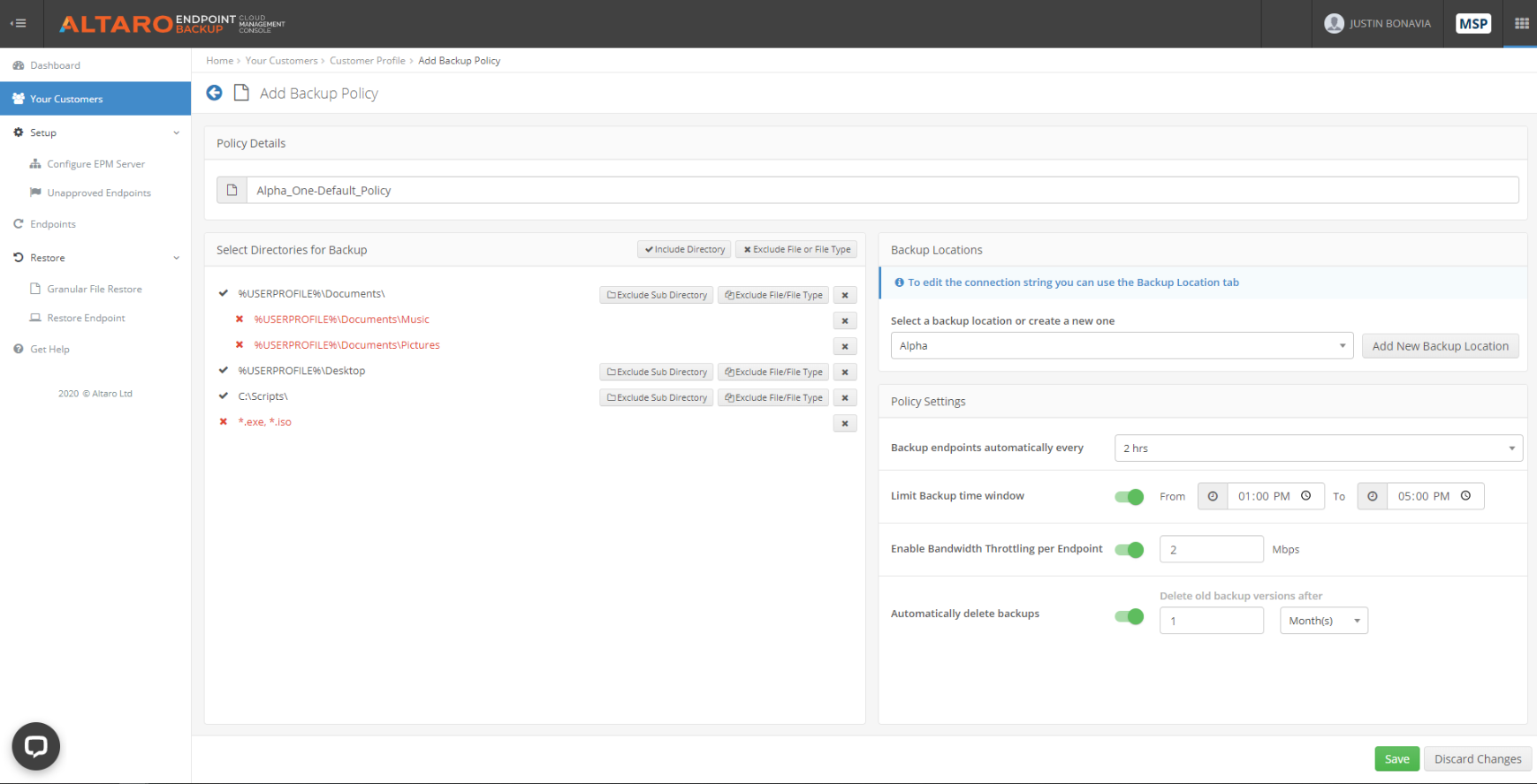 Altaro endpoint backup - backup policy