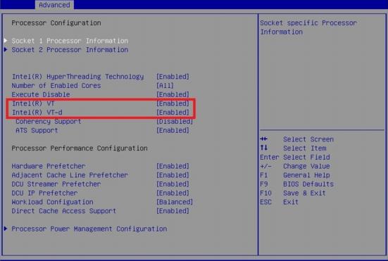 Figure 3 - Enabling advanced CPU virtualization features