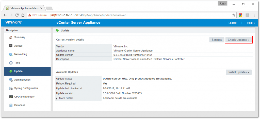 Figure 2 - The vCSA Appliance Management tool can be used to upgrade the appliance
