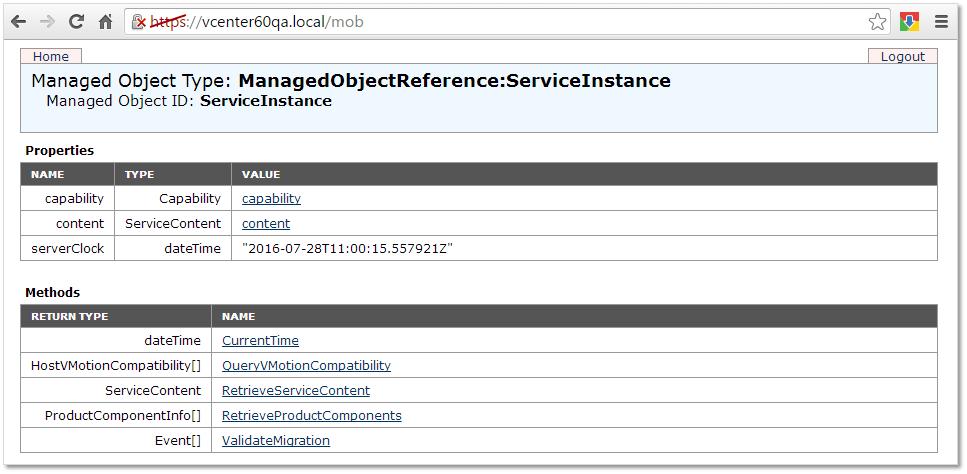 Figure 2 - MOB for a vCenter Server