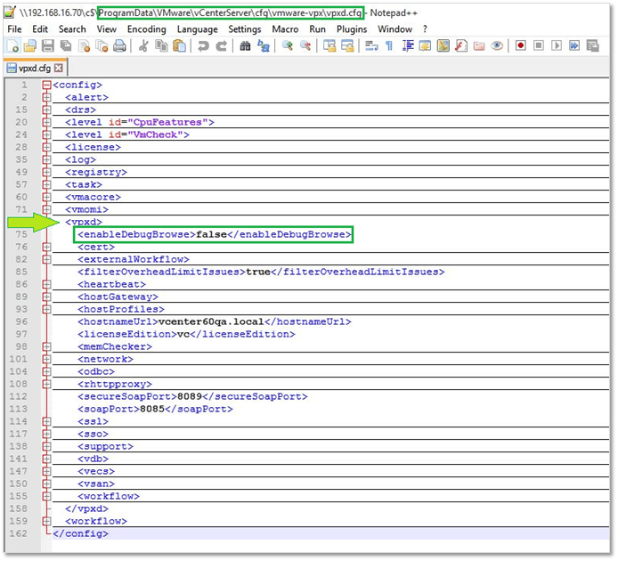 Figure 4 - Enabling and disabling MOB on vCenter Server by editing vpxd.cfg