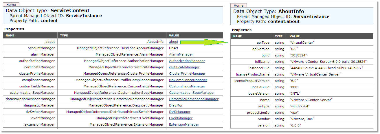 Figure 6 - Viewing the vCenter Server build and version information from MOB