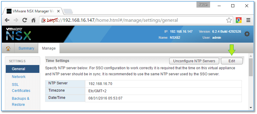 Figure 11 - Configuring the NTP source