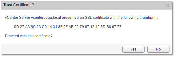 Figure 13 - Accepting SSL certs when configuring SSO and registering vCenter Server