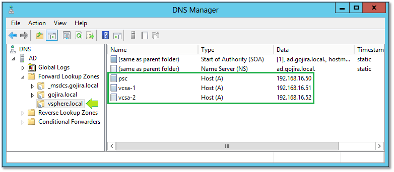 Figure 2 - DNS Forward lookup zone and records for the appliances