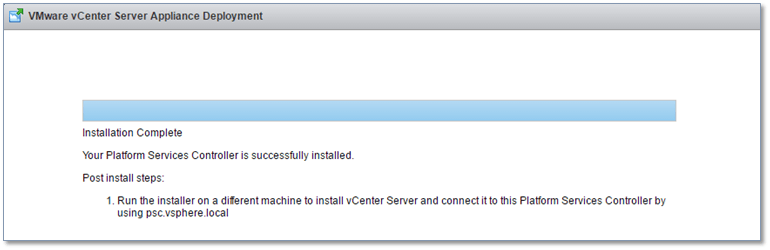 Figure 11 - PSC successfully installed!