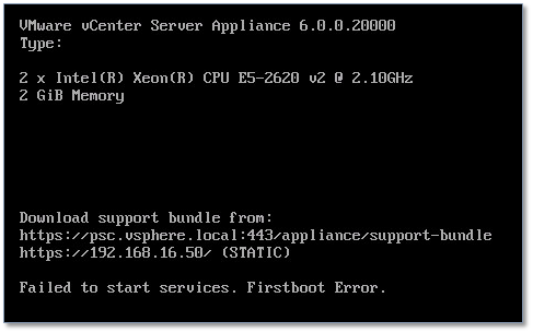 Figure 12 - Firstboot error due to a hostname / DNS mistmatch