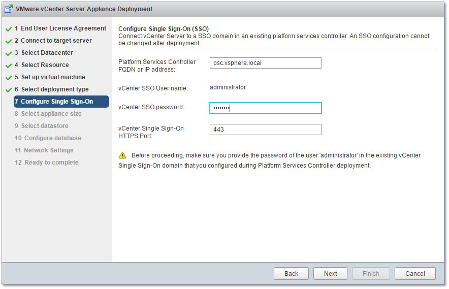 Figure 14 - Telling the VCSA which PSC to use