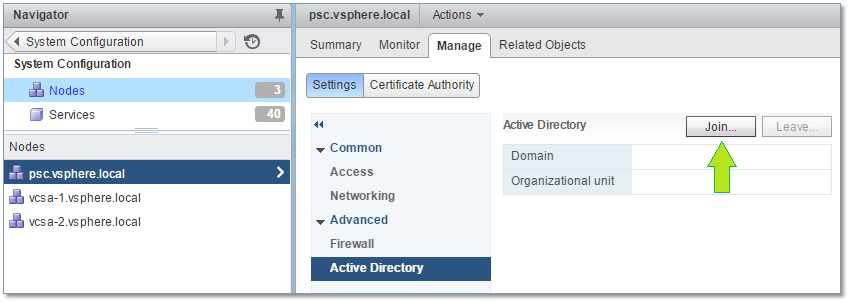 Figure 20 - Joining a node to Active Directory