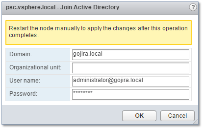 Figure 21 - Specifying the AD domain and credentials