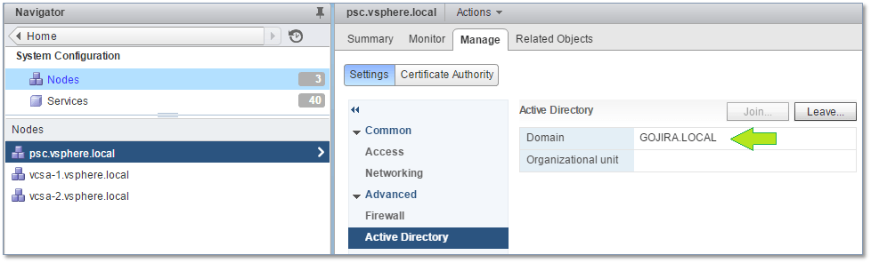 Figure 22 - The domain is correctly listed after the PSC has been rebooted