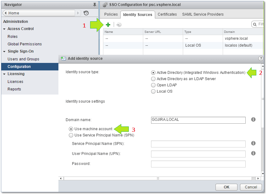 Figure 23 - Adding an AD domain as an SSO identity source
