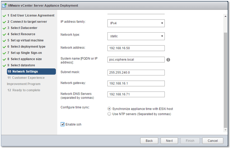 Figure 10 - Setting the network details and FQDN for the PSC
