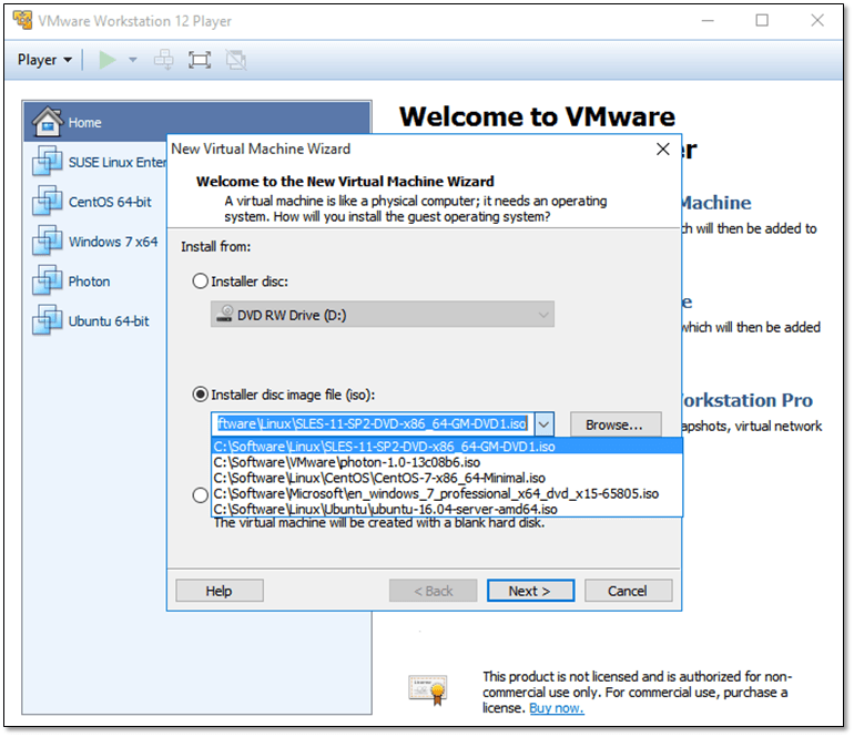 Figure 1 - Creating a new virtual machine and attaching an ISO image in VMware Player
