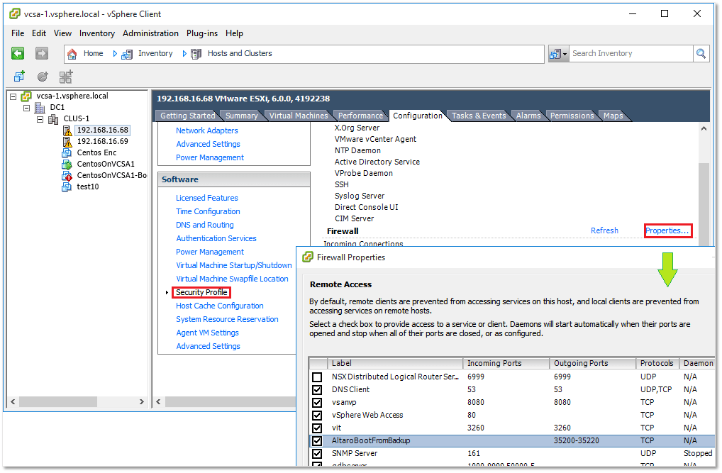 Figure 12 - Managing firewall rules from vSphere Client