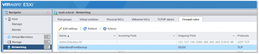 Figure 13 - The newly created rule listed in ESXi Host Client