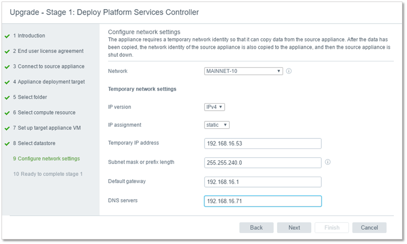 Figure 13 - Configure network setting for the new appliance