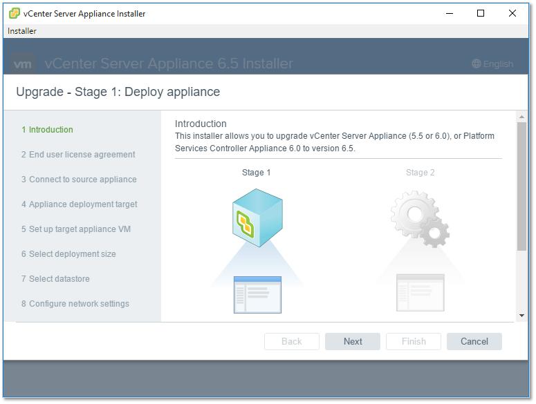 Figure 3 - The VCSA installer intro screen