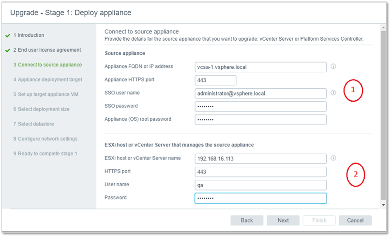 Figure 5 - Specifying the details for the source appliance and parent host