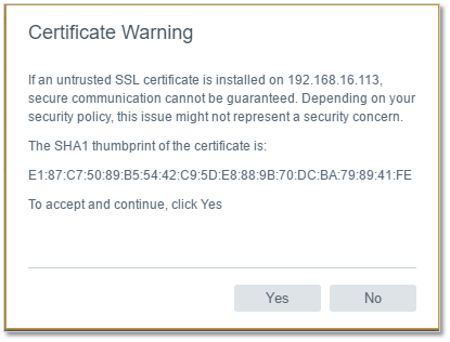 Figure 8 - Accepting the SSL certificate warning