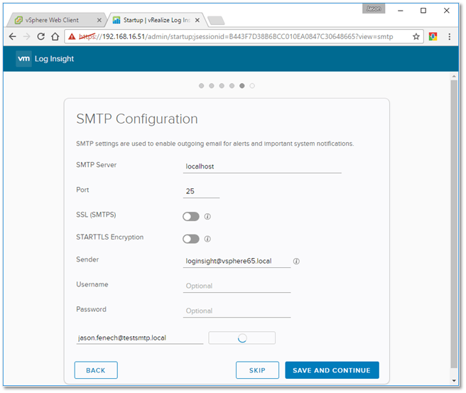 Figure B7 - Configuring SMTP settings for alerts and system notifications forwarding
