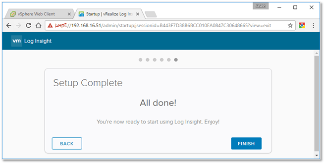 Figure B8 - Configuration successfully completed
