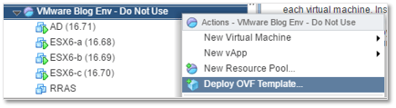 Figure 3 - Deploying an OVF template to vCenter Server